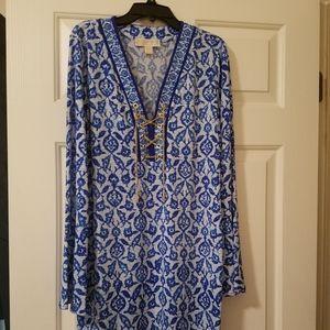 Michael Kors Long Sleeve Royal Blue Shift Dress